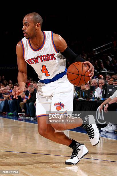 Arron Afflalo of the New York Knicks handles the ball during the game against the Denver Nuggets on February 7 2016 at Madison Square Garden in New...