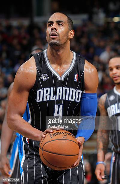 Arron Afflalo of the Orlando Magic attempts a free throw shot against the Sacramento Kings on January 10 2014 at Sleep Train Arena in Sacramento...