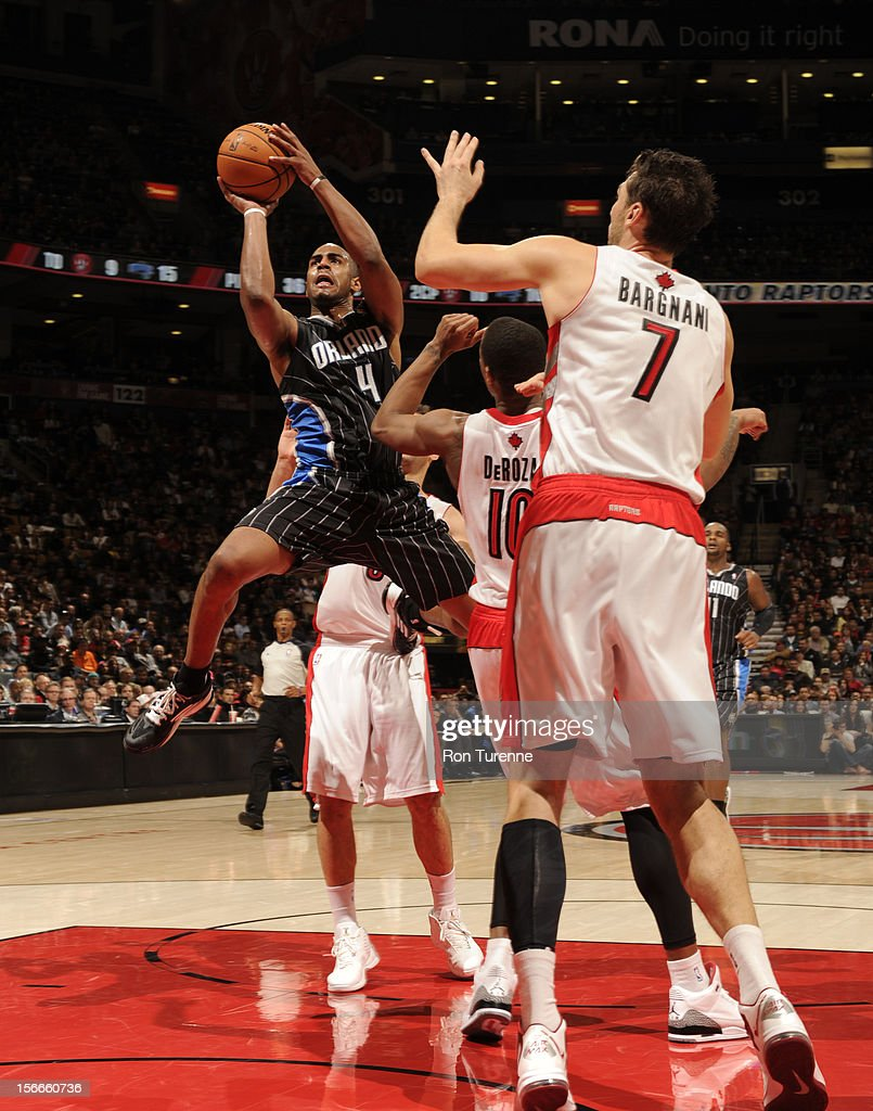 Arron Afflalo #4 of the Orlando Magic drives to the hoop vs the Toronto Raptors during the game on November 18, 2012 at the Air Canada Centre in Toronto, Ontario, Canada.