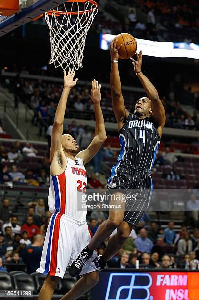 Arron Afflalo of the Orlando Magic gets to the basket for a layup past Tayshaun Prince of the Detroit Pistons at the Palace of Auburn Hills on...
