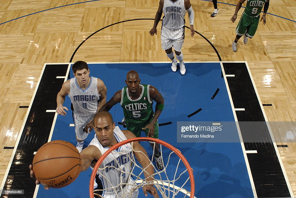 Arron Afflalo #4 of the Orlando Magic goes to the basket during the game between the Boston Celtics and the Orlando Magic on November 25, 2012 at Amway Center in Orlando, Florida.