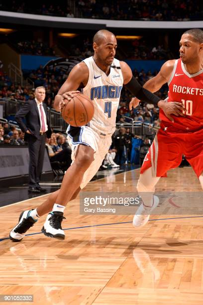 Arron Afflalo of the Orlando Magic handles the ball against the Houston Rockets on January 3 2018 at the Amway Center in Orlando Florida NOTE TO USER...