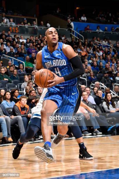 Arron Afflalo of the Orlando Magic handles the ball against the Minnesota Timberwolves on January 16 2018 at Amway Center in Orlando Florida NOTE TO...