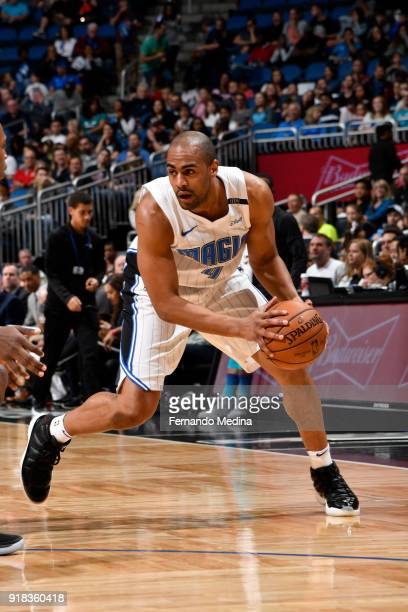 Arron Afflalo of the Orlando Magic handles the ball against the Charlotte Hornets on February 14 2018 at Amway Center in Orlando Florida NOTE TO USER...