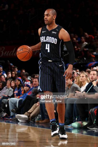 Arron Afflalo of the Orlando Magic handles the ball during the game against the New York Knicks on December 3 2017 at Madison Square Garden in New...