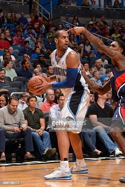 Arron Afflalo of the Orlando Magic looks to pass the ball against the Atlanta Hawks during the game on December 29 2013 at Amway Center in Orlando...