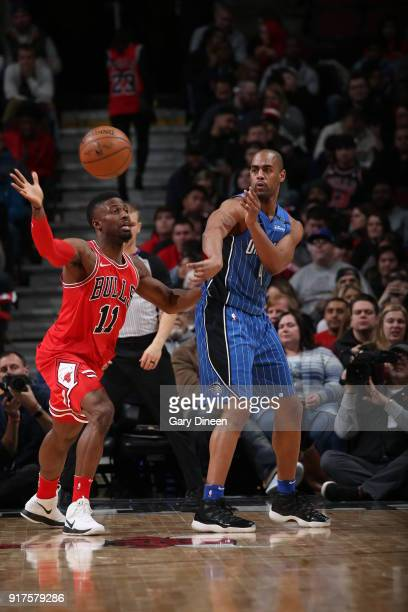 Arron Afflalo of the Orlando Magic passes the ball against the Chicago Bulls on February 12 2018 at the United Center in Chicago Illinois NOTE TO...