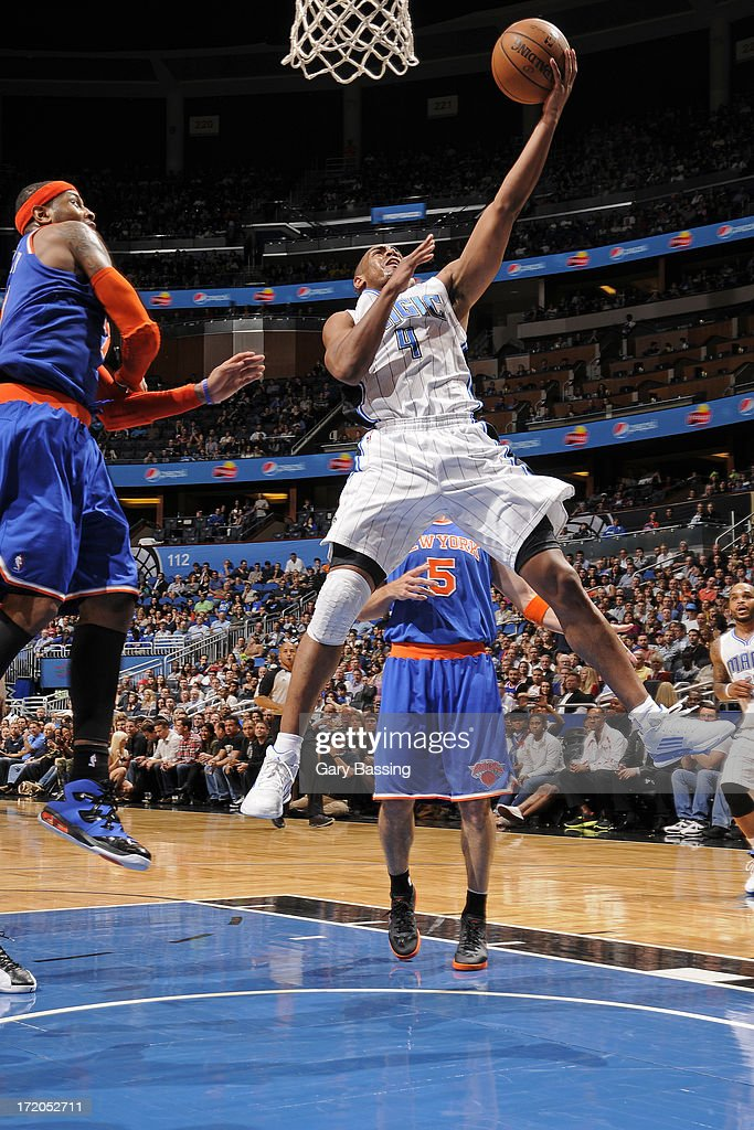 Arron Afflalo #4 of the Orlando Magic shoots a layup during the game against the New York Knicks on January 5, 2013 at Amway Center in Orlando, Florida.