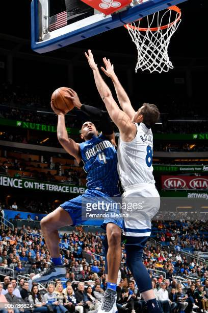 Arron Afflalo of the Orlando Magic shoots the ball against the Minnesota Timberwolves on January 16 2018 at Amway Center in Orlando Florida NOTE TO...