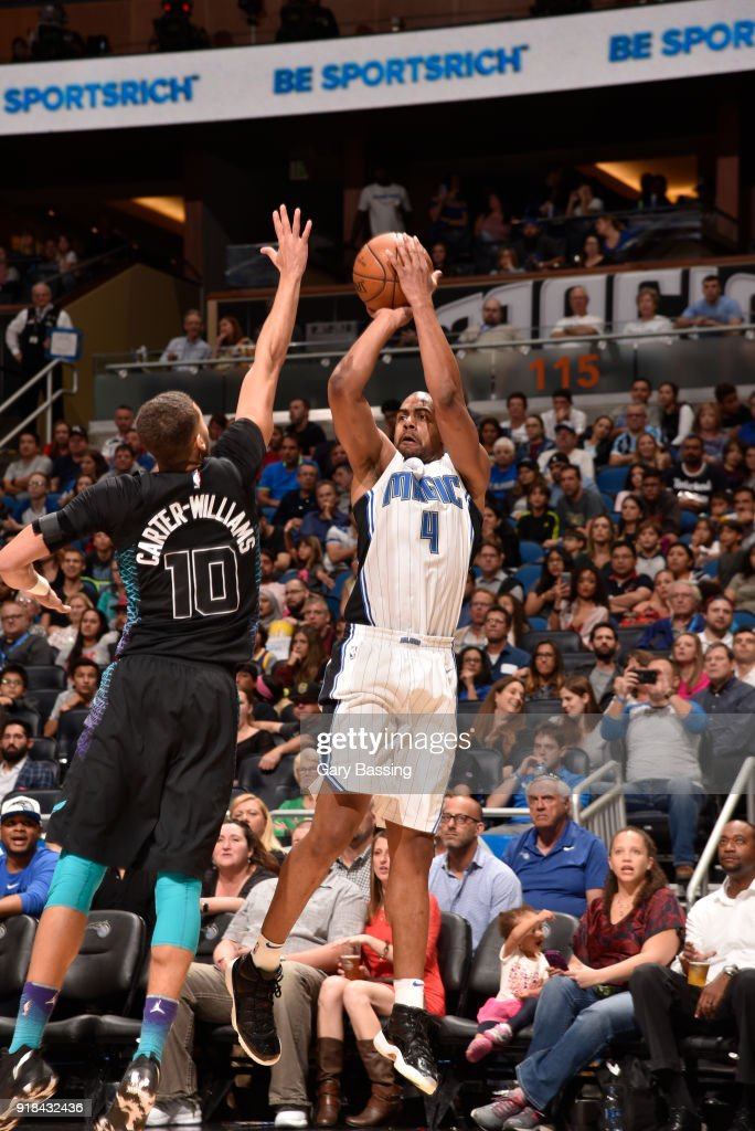Arron Afflalo #4 of the Orlando Magic shoots the ball against the Charlotte Hornets on February 14, 2018 at Amway Center in Orlando, Florida.
