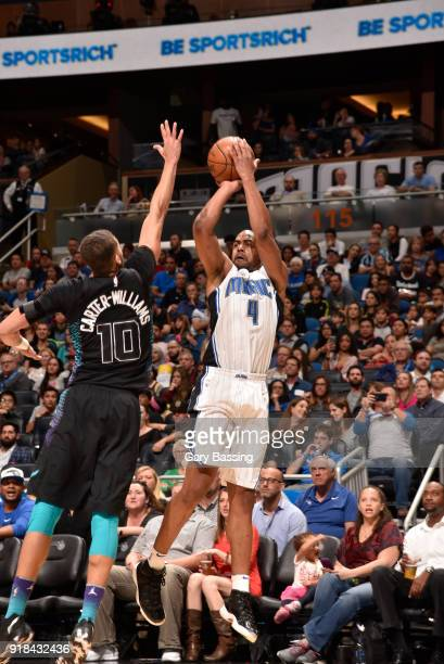 Arron Afflalo of the Orlando Magic shoots the ball against the Charlotte Hornets on February 14 2018 at Amway Center in Orlando Florida NOTE TO USER...
