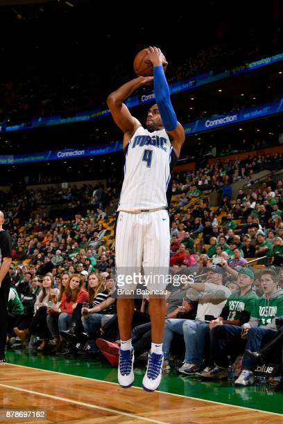 Arron Afflalo of the Orlando Magic shoots the ball during the game against the Boston Celtics on November 24 2017 at the TD Garden in Boston...