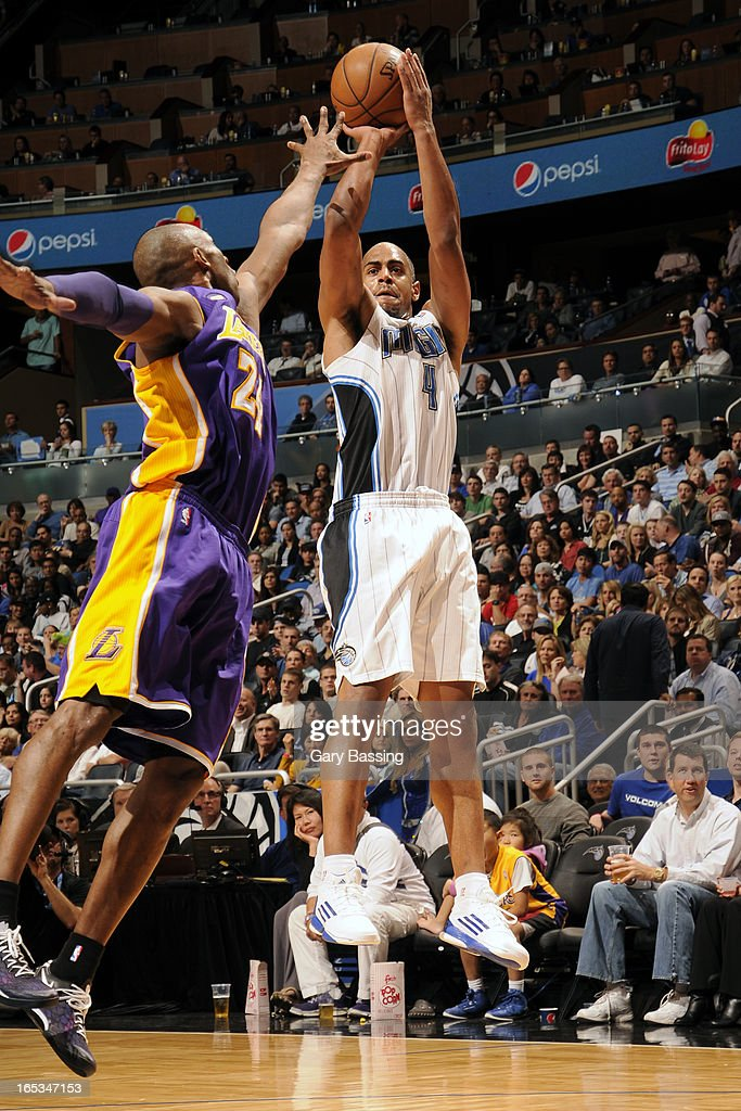Arron Afflalo #4 of the Orlando Magic takes a shot against the Los Angeles Lakers on March 12, 2013 at Amway Center in Orlando, Florida.