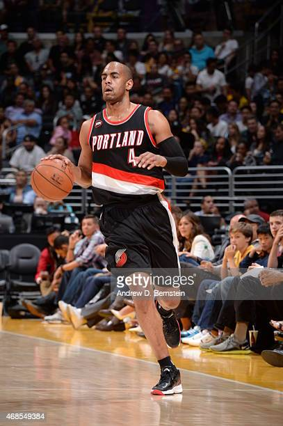 Arron Afflalo of the Portland Trail Blazers handles the ball against the Los Angeles Lakers on April 3 2015 at STAPLES Center in Los Angeles...