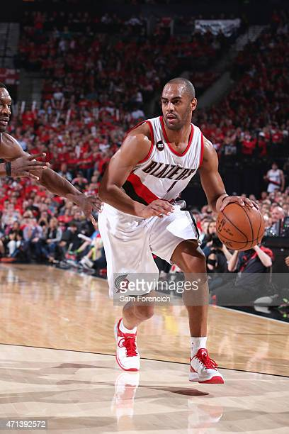 Arron Afflalo of the Portland Trail Blazers handles the ball against the Memphis Grizzlies in Game Four of the Western Conference Quarterfinals...