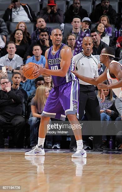 Arron Afflalo of the Sacramento Kings handles the ball against the Oklahoma City Thunder on November 23 2016 at Golden 1 Center in Sacramento...