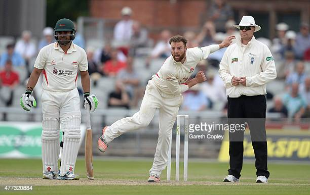 Arron Lilley of Lancashire bowls during the LV County Championship division two match between Lancashire and Leicestershire at Old Trafford on June...