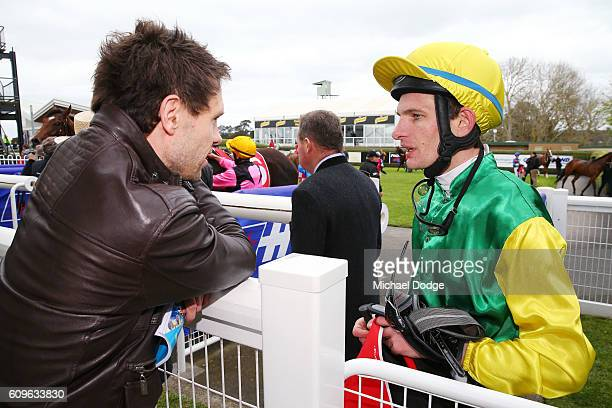 Arron Lynch speaks to winning connections after winning on Mitochondria in Mornington Jeep Plate at Mornington Racecourse on September 22 2016 in...