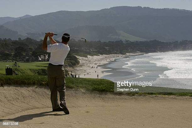 Arron Oberholser hits a bunker shot during the final round of the ATT Pro Am on February 12 2006 at the Pebble Beach Golf Links Golf Course in Pebble...