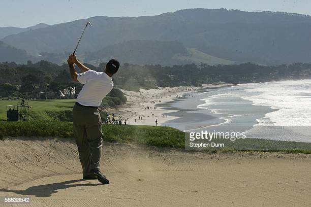 Arron Oberholser hits from a fairway bunker on the ninth hole during the final round of the AT&T Pro Am on February 12, 2006 at the Pebble Beach Golf...