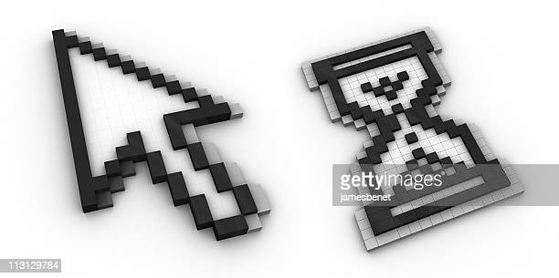 arrow and hourglass cursors 3d - cursor stock pictures, royalty-free photos & images