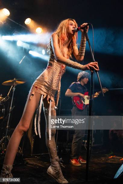 Arrow de Wilde and Tim Franco of Starcrawler perform at The Garage on June 20 2018 in London England