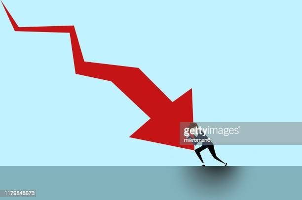 arrow going down and question mark and man stopping it - european union stock pictures, royalty-free photos & images