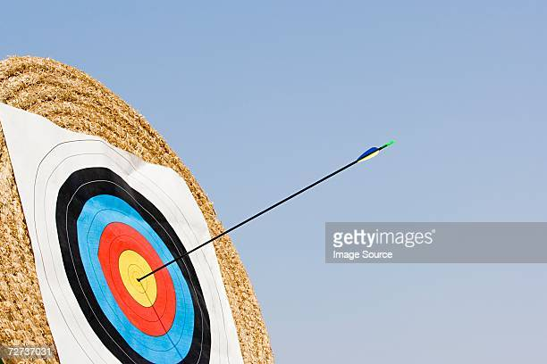 arrow in archery target - archery stock pictures, royalty-free photos & images