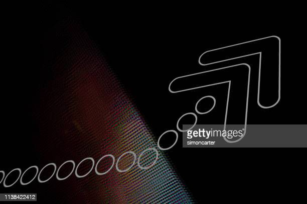 arrow on abstract electronic style background. - publication stock pictures, royalty-free photos & images