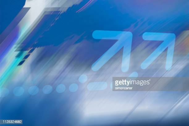 arrow on abstract graphic background - arrow sign stock photos and pictures