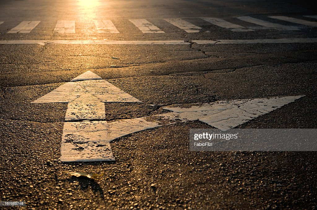 arrow on road : Stock Photo