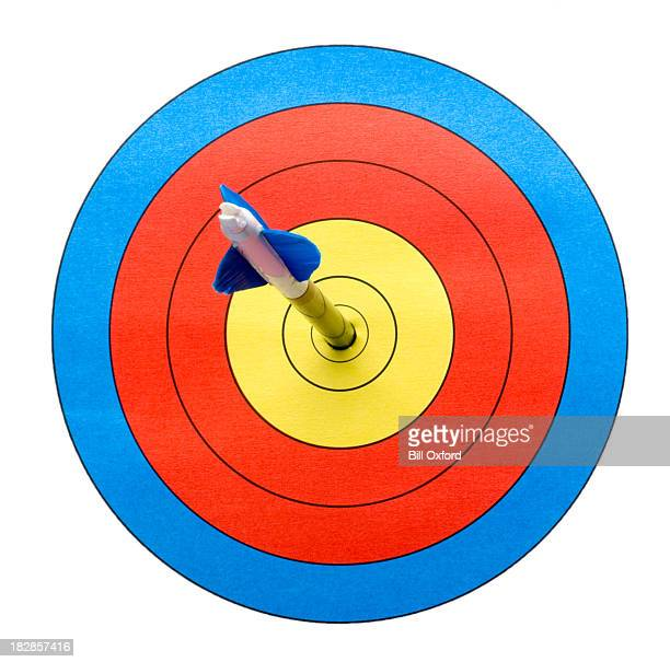Arrow on target hitting bull's-eye.