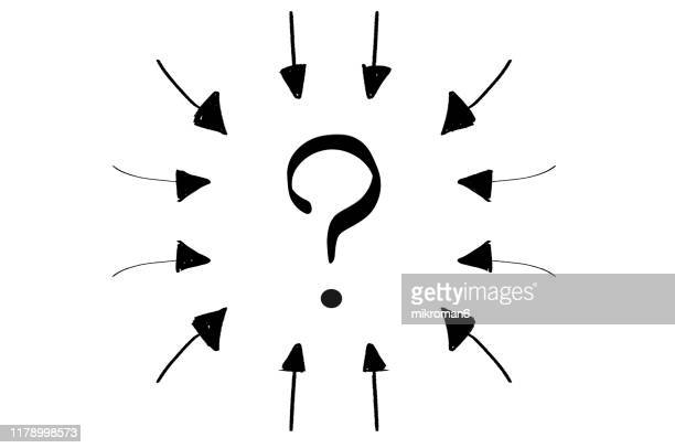 arrow pointing inwards in shape of circle with question mark - curved arrows stock pictures, royalty-free photos & images