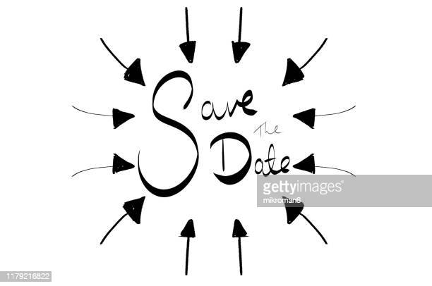 arrow pointing inwards in shape of circle with save the date - curved arrows - fotografias e filmes do acervo
