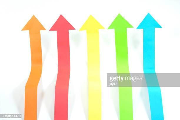 arrow signs - curved arrows stock pictures, royalty-free photos & images