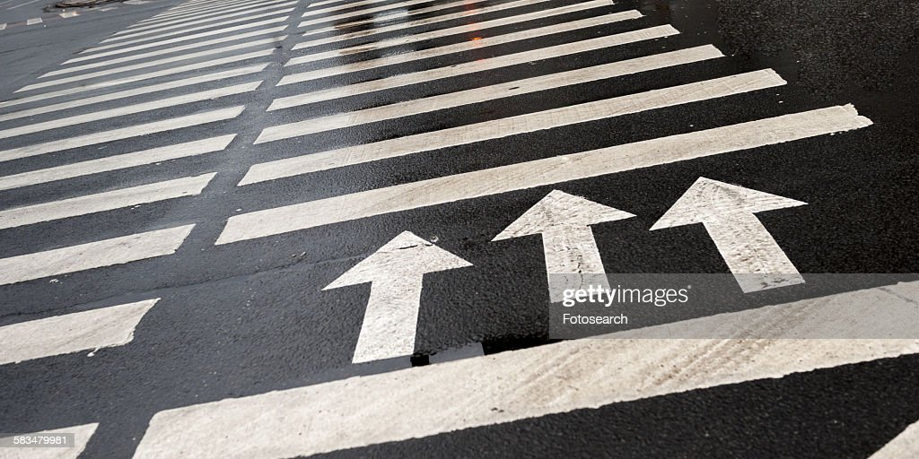 Arrow signs with crosswalk markings on the road : Stock Photo