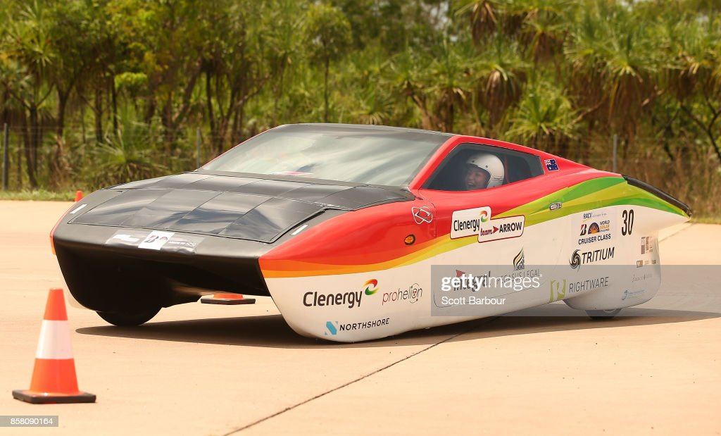 Arrow STF, the car from Queensland and Australia's Clenergy Team Arrow conducts figure 8 testing at the Hidden Valley Motor Sport Complex before competing in the Cruiser class ahead of the 2017 Bridgestone World Solar Challenge on October 6, 2017 in Darwin, Australia. Teams from across the globe are competing in the 2017 World Solar Challenge - a 3000 km solar-powered vehicle race through the Australian Outback between Darwin and Adelaide. The race attracts teams from around the world, most of which are fielded by universities or corporations although some are fielded by high schools. The race has a 30-year history spanning thirteen races, with the inaugural event taking place in 1987. The race begins on October 8th with the first car expected to cross the finish line on October 11th.