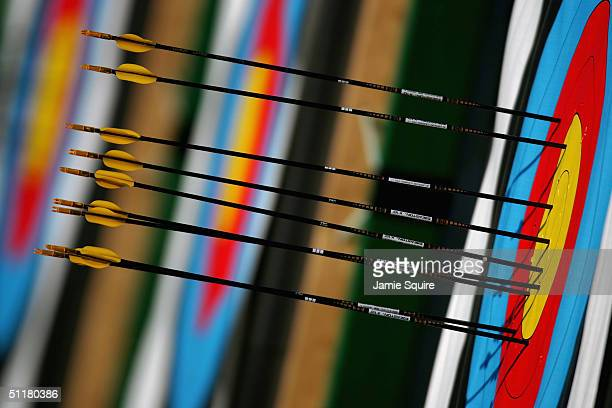Arrows are seen embedded in a target during practice for the women's individual eliminations match on August 17 2004 during the Athens 2004 Summer...