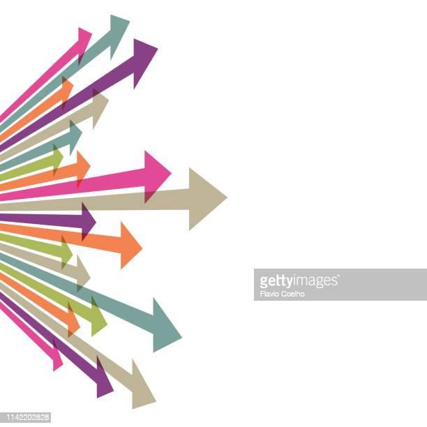 arrows coming from vanishing point - elemento del design foto e immagini stock