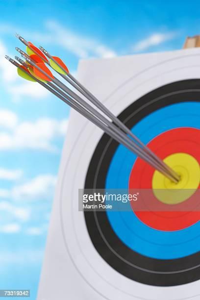 Arrows in bullseye of target, focus on arrows