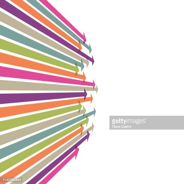 arrows pointing to vanishing point - elemento del design foto e immagini stock