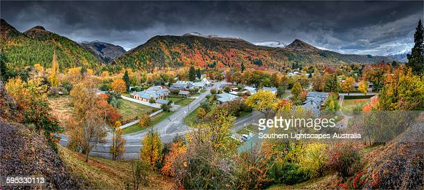 arrowtown autumn panorama - arrowtown stock pictures, royalty-free photos & images