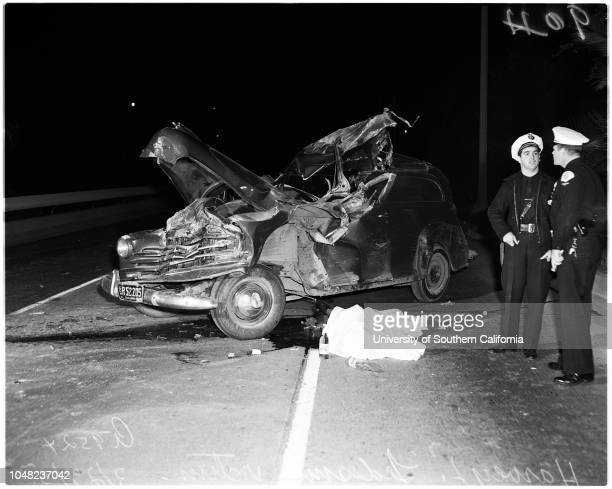 Arroyo Seco Parkway death in auto accident, 27 March 1952. Harver L Ledesma, victim;Police Detective E.T Barham;Officer WB Tallant;Ambulance...