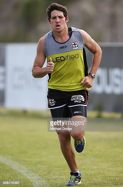 Arryn Siposs runs laps during a StKilda Saints AFL training session at Linen House Oval on November 5 2014 in Melbourne Australia