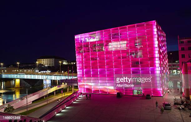 Ars Electronica centre at night