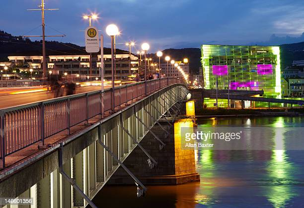 ars electronica centre at sunset - linz stock pictures, royalty-free photos & images