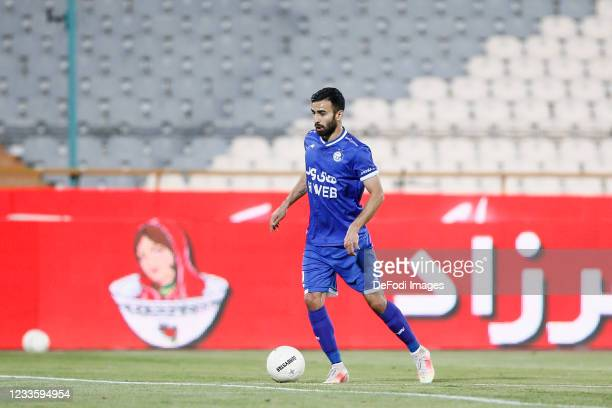 Arsalan Motahari of Esteghlal controls the ball during the Persian Gulf Pro League match between Esteghlal and Padideh FC at Azadi Stadium on June...