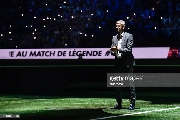 Arsen Wenger arrives on the pitch to coach the Fifa 98 team at the UArena in Nanterre on the 12 June 2018