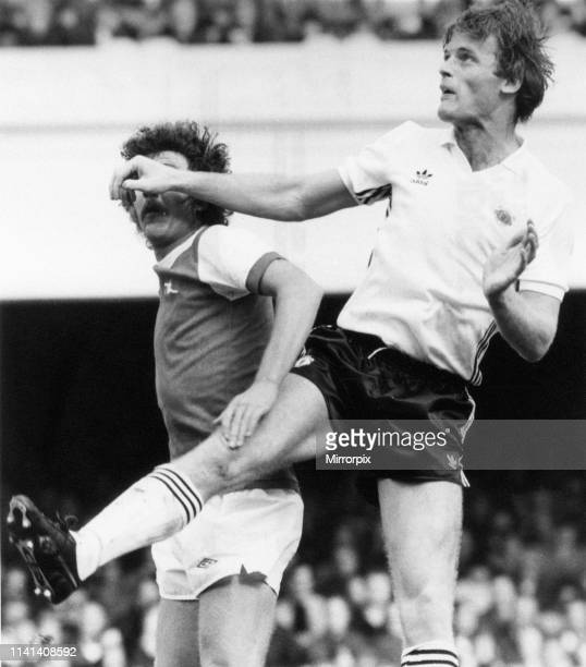 Arsenal 00 Manchester United League Division One match at Highbury Saturday 26th September 1981 pictured Gordon McQueen of United beats Alan...