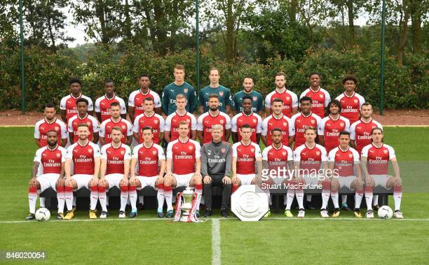 Arsenal 1st team squad season 2017/18 Back row Ainsley MaitlandNiles Eddie Nketiah Jeff ReineAdelaide Matt Macey Petr Cech David Ospina Calum...
